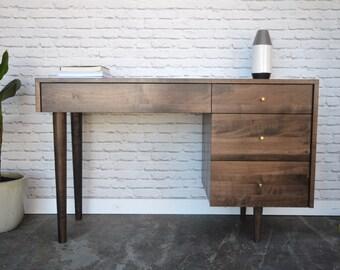 April Desk - Solid Maple - Dark Walnut Finish