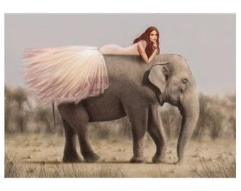 12x16 Illustration Print - 'Elephant Princess'