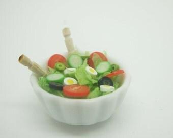 Miniature dollhouse kit for mixed salad