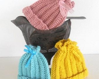 Three Preemie Beanies, Pink, Yellow, Aqua, Preemie Beanies - 3 Crocheted Adorable Beanie Hats, Newborn Beanies, Baby Beanies