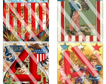 "Set of 8 Vintage 4th July Postcards Digital Collage Children Digital Printable 3 1/2""x5"" USPS Size Ephemera DIY Scrapbook Instant Download"