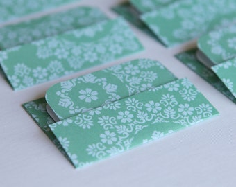 Mini Cards n Envelopes - Set of 6 - Teal Aqua, Doiley, White Flowers, Vintage Feel