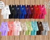 Silk Satin Robes, Wedding Robes, Monogrammed Robe, Bridesmaid Satin Robes, Kimono Robe, Plus Size Robe, 16 Colors Available