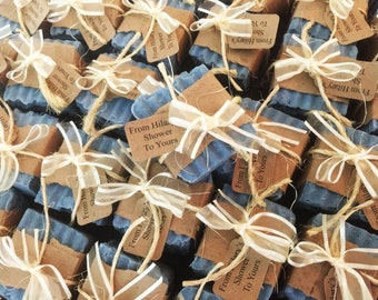 """ANY COLORS! Natural """"Mommy To Bee"""" BLUE Baby Shower Party Favors From My Shower to Yours Honey Shea Butter Soap - Rustic Country Guest Gift"""