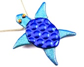 Pin AND Pendant - Sea Turtle Dichroic Glass Cobalt Sapphire Blue Teal Cyan Aqua Polka Dotted Patterned Textured Dichro - 2""