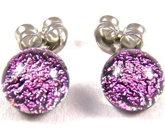 """Tiny Dichroic Stud Post Earrings - 1/4"""" 7mm - Pastel Silver Light Pink Fused Glass Dichro Dot Studs"""