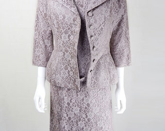 1950s Vintage Susan Small Taupe Lace Dress & Jacket UK Size 10/12