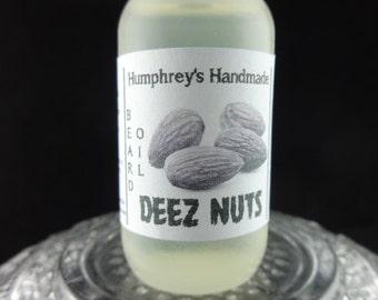 DEEZ NUTS Beard Oil Sample Size, Almond Honey Beard Conditioner, Natural Beard Serum for Men Apricot Avocado Almond Oil Funny Crude