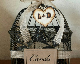 Large Burlap Ribbon w Initial Heart Charm-Small Black and Gold Vintage Birdcage -Wedding Card Holder