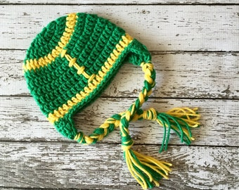 Oregon Ducks Inspired Football Beanie in Green and Yellow Available in Newborn to 5 Year Size- MADE TO ORDER