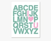 Alphabet Typography Print Poster I Love You - Custom Nursery Decor Wall Art // Kids Baby Wall Decor // Alphabet Letters Alphabet Art Print