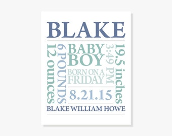 PERSONALIZED BABY BOY Gift: Baby Name Art Print Birth Announcement in Blue Green or Customize Colors