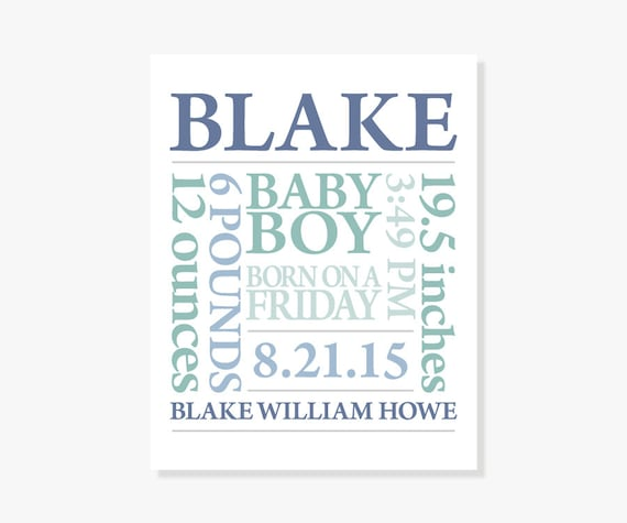 Baby Boy Gifts With Name : Personalized baby boy gift name art print birth