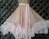 "vintage bohemian gypsy wedding formal skirt/dress...28 to 38"" waist or hips...."