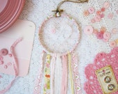 Baby Pink & Yellow Love Catcher, Shabby Chic Lace Dream Catcher, Nursery Decor, Pretty Wall Hanging