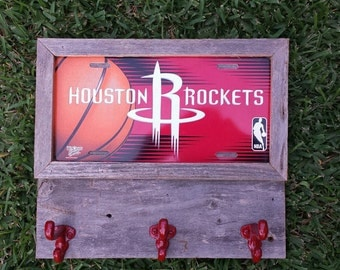Free Shipping,Houston Rockets    Coat, keys or cap holder, rustic style, license plate with three  hooks