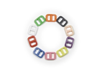 """100 Wide-Mouth Triglides, 3/8"""" (10mm) Ten Colors to Choose From.  Plastic."""