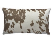 Cow Abunga Cafe Latte Reversible Pillow Cover, Faux Cowhide, Faux Suede, Tan and Cream Cowboy Decor Toss Pillow, 12 x 20 Inch Lumbar