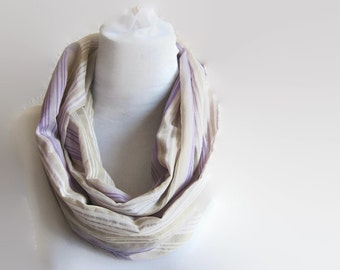 Pastel Linen Scarf, Long Circle Stripes Scarf, Infinity Thin Linen Scarf in Purple Off White Gray Taupe Linen fabric Scarves