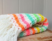 Fruit Striped Colors, Vintage Afghan, Lap Blanket