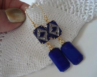 Vintage 1920's Czech Art Deco Lapis Lazuli Glass Gold Vermeil Earrings Bohemian Gablonz