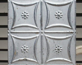 """Genuine Antique Ceiling Tile -- 12"""" x 12"""" -- Distressed Silver Colored Paint --  Small Flower Design"""