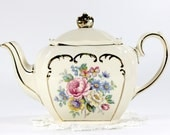 Sadler Tea Pot, Cube Shaped Vintage Teapot, Pink and Yellow Roses & Scroll Gilding 12667