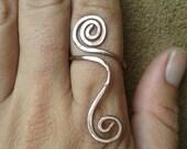 Dual Spiral Copper Ring