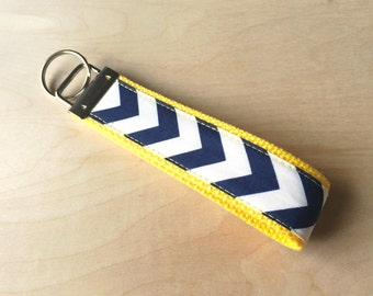 Fabric wristlet keychain, key fob - Navy Chevron