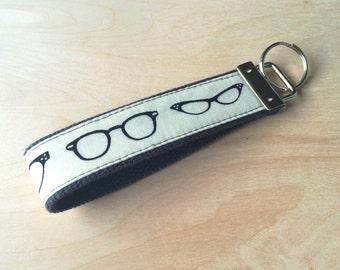 Fabric wristlet keychain, key fob - Glasses