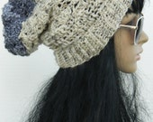Long Winter Hats ,Crochet Beanies Women's And Teen Girls Winter Slouchy Beanie Hats In Oatmeal Black And Grey