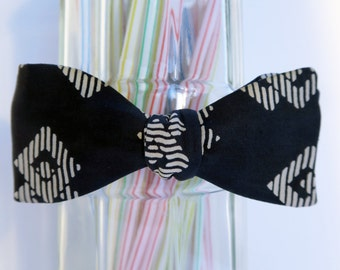Navy Aztec Pattern Self Tie Bow Tie