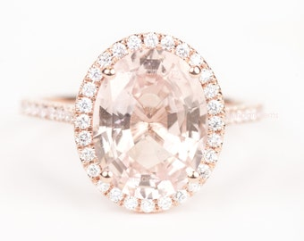 CERTIFIED - GIA Certified Huge Oval Peach Pink Champagne Sapphire & Diamond Halo Engagement Ring 18K Rose Gold
