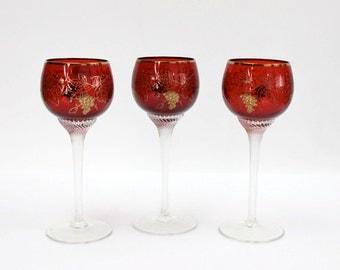 Red Bohemian Cordial Stemware / SET of 3 / Encrusted Gold Grape Leaves / c1960s