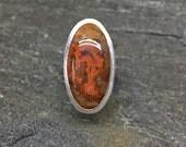 Fairburn Agate Ring, Size 8.5, Orange agate with druzy pocket, drusy agate ring, sterling silver ring, Modern, South Dakota Gemstone