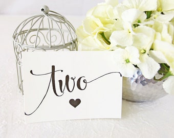 Table Number, Wedding Table Numbers, Dinner Table Numbers, Table Number Cards, Formal Table Numbers - Set of 5 (TN4BAR - CAN)