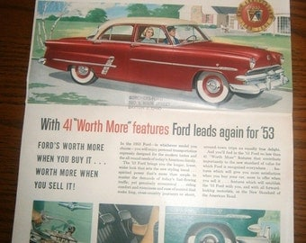 1953 Ford Motor Car Company Brochure Vintage Advertising Country Squire Victoria