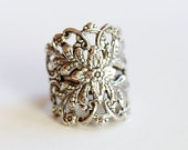Filigree Flower Silver Ring,Jewelry Gift, Ring,Silver,Flower,Antique Ring,Silver Ring,Blossom,Wedding,Bridesmaid.