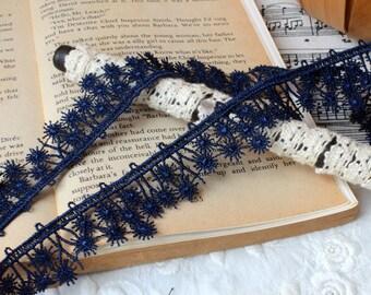 Vintage Lace Trim - 2.5 yards Dark Blue Flower Lace Trim (L572)