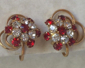 Earrings Screw-back  Red and Clear  Victorian Edwardian Downton Abbey Style Lady Mary