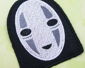 No Face Machine Embroidered Iron on OR Sew on Patch