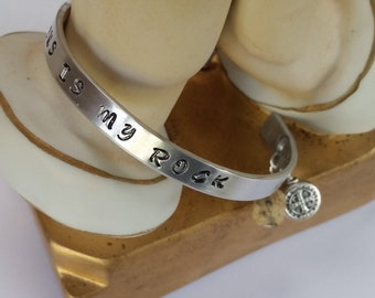 Metal Cuff Bracelet - Hand Stamped - St. Benedict - Jesus Is My Rock