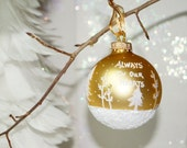 Memorial Ornament, Remembering a Loved One, Hand Painted Gold Glass Christmas Ornament - White Pines, Aspen, and Falling snow, Great Gift