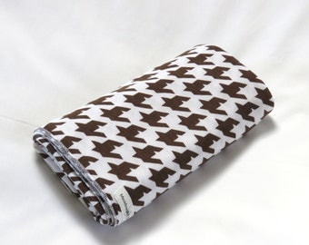 Large Cotton Jersey Knit Baby Swaddle/Receiving Blanket - Boy/Girl - Carafe Brown Houndstooth