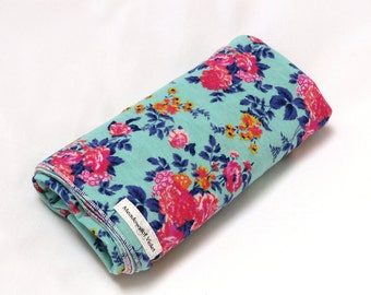 Large Cotton Jersey Knit Baby Swaddle/Receiving Blanket - Girl - Pink Coral Floral on Mint Green