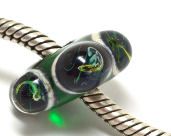 storm silver green and blue.... euro style glass lampwork bead, SRA handmade with lots of silver glass P72015-2