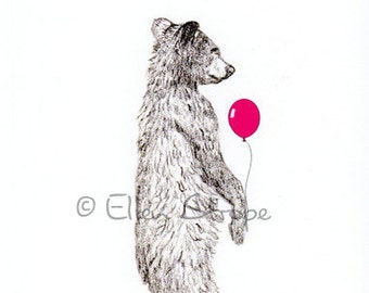 CARD, happy birthday card, bear, bear decor, cabin decor, birthday cards, balloons, drawings, bear drawings, Ellen Strope, castteam