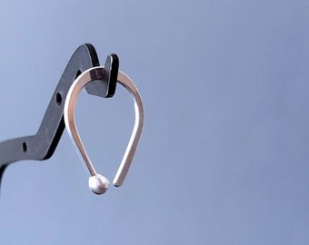 Fine Silver Hoop Earring, Tear Drop Ball End, Cartilage or Lobe Jewelry, Choice of 18 gauge or 20 gauge