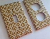 Gold Single Light Switch Plate Cover/ Moroccan Decor/ Lattice Decor/ Gold Nursery Decor/ Gold Home Decor / Gold Bathroom Decor / Teen Room