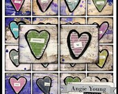 1 inch square digital collage sheet Hearts Heart Words 2x2 inch 1.5x1.5 inch Vintage Jewelry Pendants Printable Images Magnets sq64